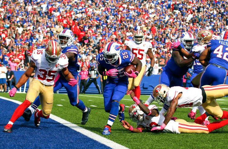 49ers vs. Bills:     October 16, 2016  -  45-16, Bills  -    Buffalo Bills running back LeSean McCoy (25) scores a touchdown in front of San Francisco 49ers free safety Eric Reid (35) during the first half of an NFL football game on Sunday, Oct. 16, 2016, in Orchard Park, N.Y.