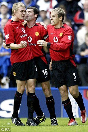 Fletcher with his mentor Roy Keane, and then United team-mate Phil Neville