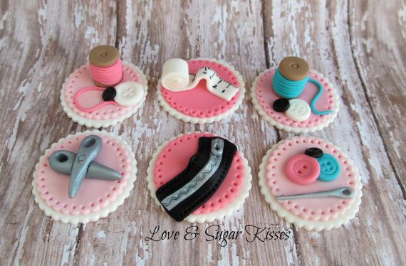 Fondant Topper Sewing themed 2 by lovesugarkisses on Etsy, $35.00