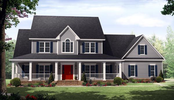 House Plan 59930 | Country Farmhouse Plan with 3000 Sq. Ft., 4 Bedrooms, 4 Bathrooms, 3 Car Garage