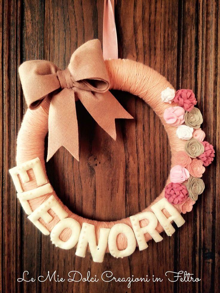 Fiocco nascita ghirlanda Eleonora rosa antico feltro