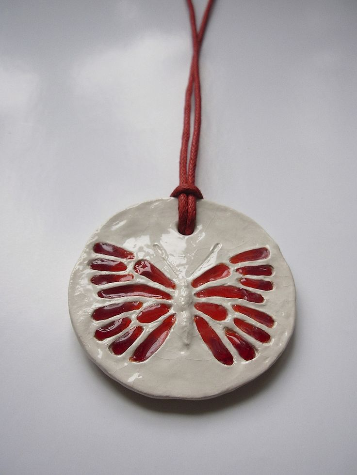 """The ceramic and glass pendant """"Red butterfly"""""""