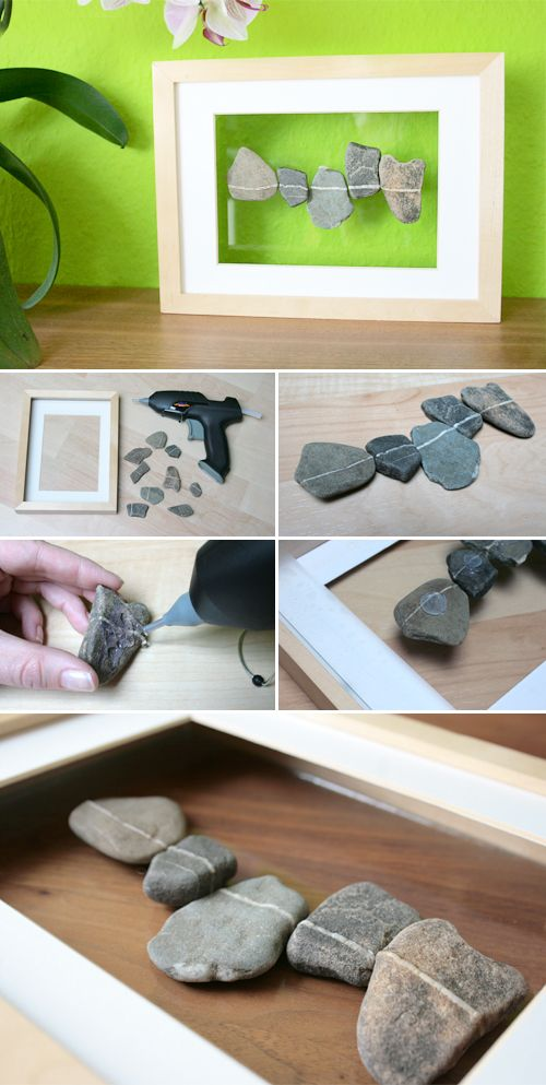 Gingered Things - DIY, Deko & Wohndesign: Schwebende Steine im Rahmen
