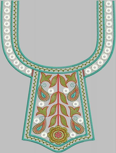 hand embroidery designs for neck - Google Search