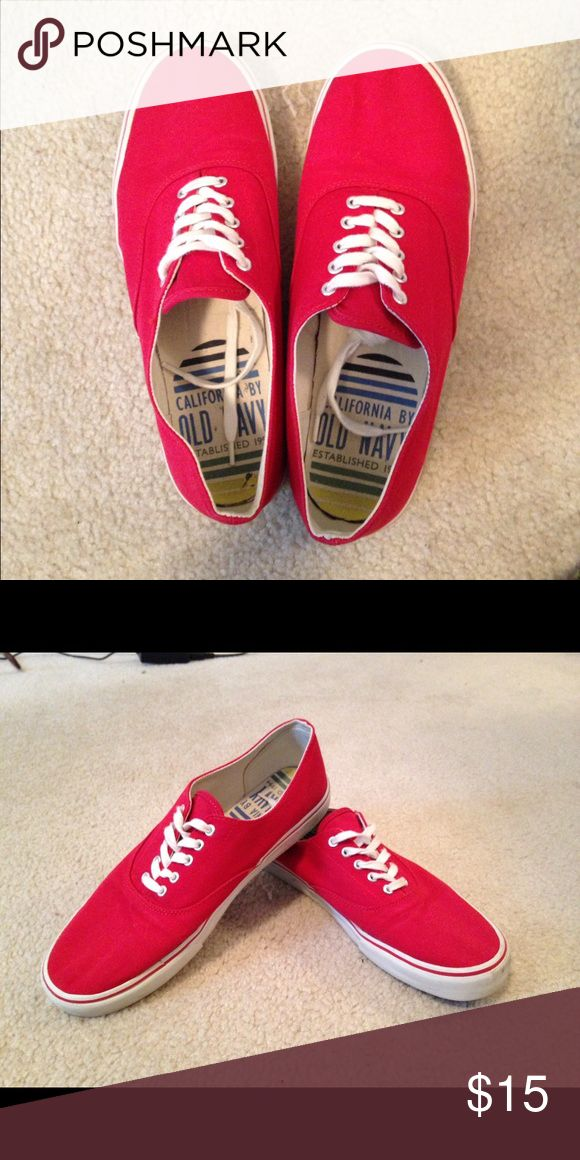 Red old navy vans Great condition, small tear on the back of the left shoe. Not vans company, only advertised for more views! Vans Shoes Sneakers