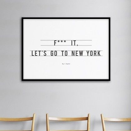 Exclusive wall art printed poster Let's Go to New York imagined by Antoine Tesquier Tedeschi for Hu2 Design