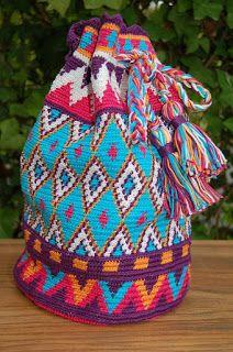 Tapestry crochet Tasche mit Harlekin-Häkelei mit Anleitung