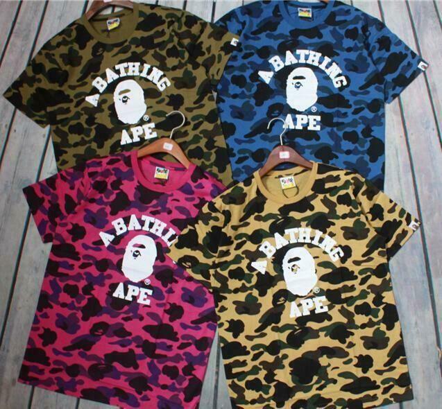 Bape A Bathing Ape Cartoon Camo Monkey Head Lovers Cotton Short Sleeve T-shirts