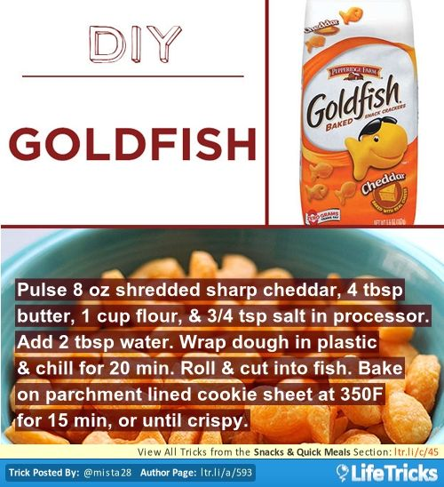 Snacks & Quick Meals - DIY Pepperidge Farm Goldfish Crackers