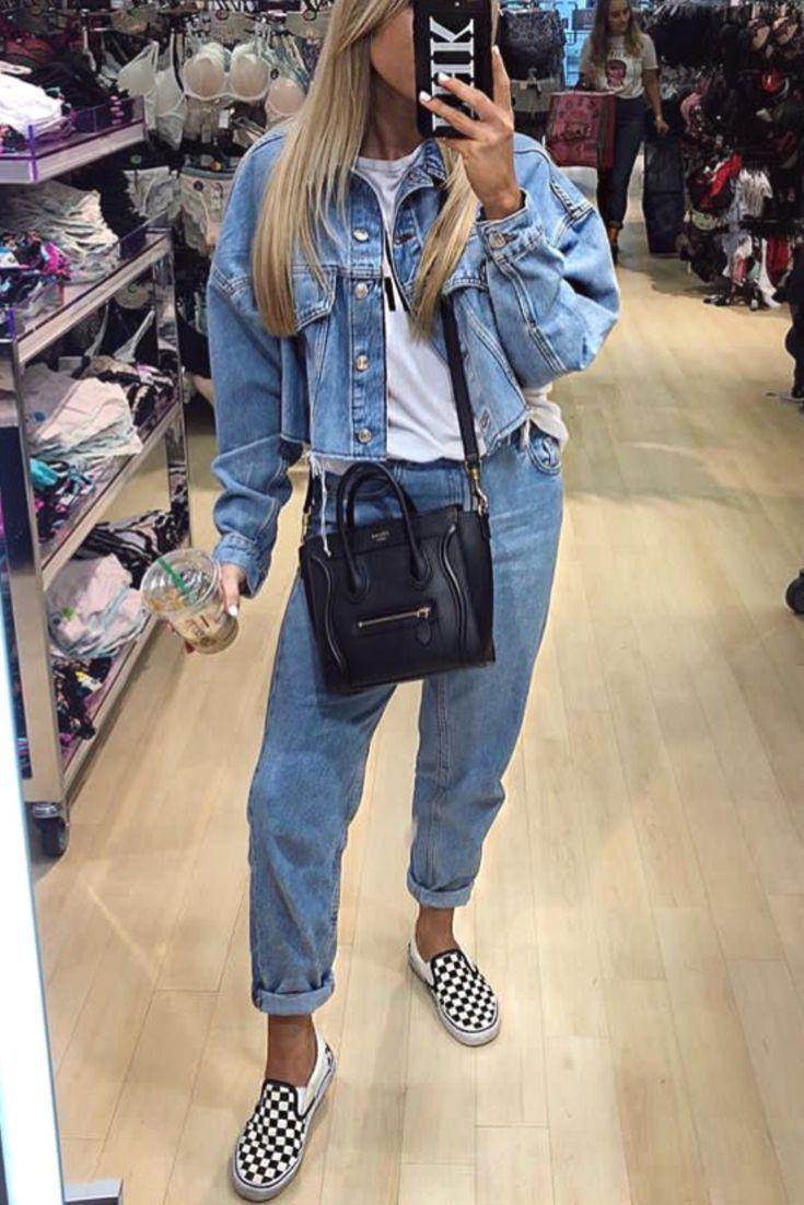Fashion women spring all in jeans with vans slip on denim