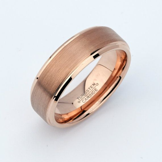 Rose Gold Tungsten Mens Wedding Band Ring Uni Anniversary Rings Pinterest