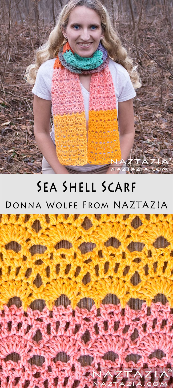 DIY Tutorial How to Crochet Sea Shelf Scarf Free Pattern with YouTube Video by Donna Wolfe from Naztazia