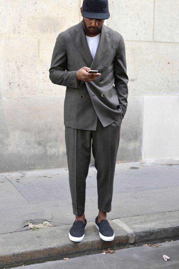 Suit + Slip Ons.