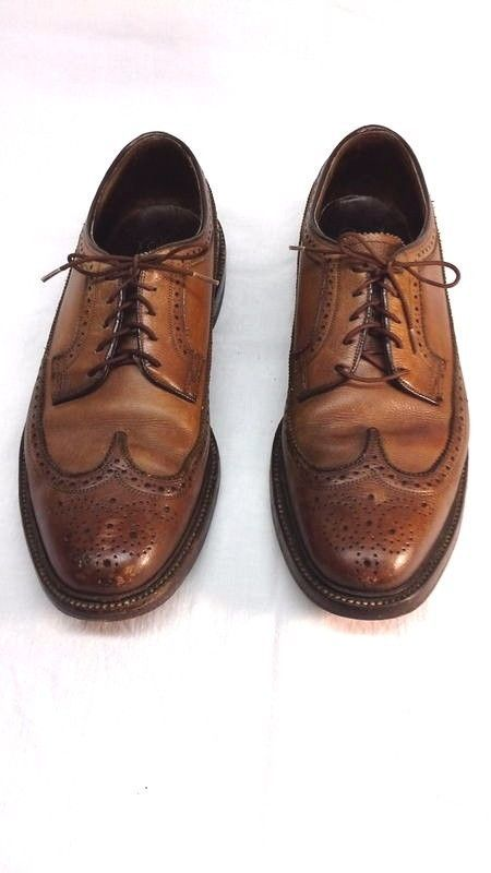 COLE HAAN Men's Wingtips Suede / Leather Distressed Look Blue Shoes Sz 8.5 M