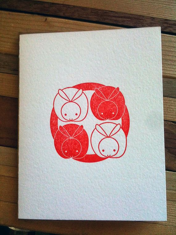 Letter Press Card - Four Rabbits $5.00
