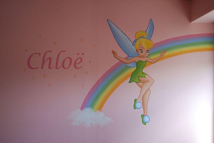 Muurschildering Pixie Dust op een regenboog