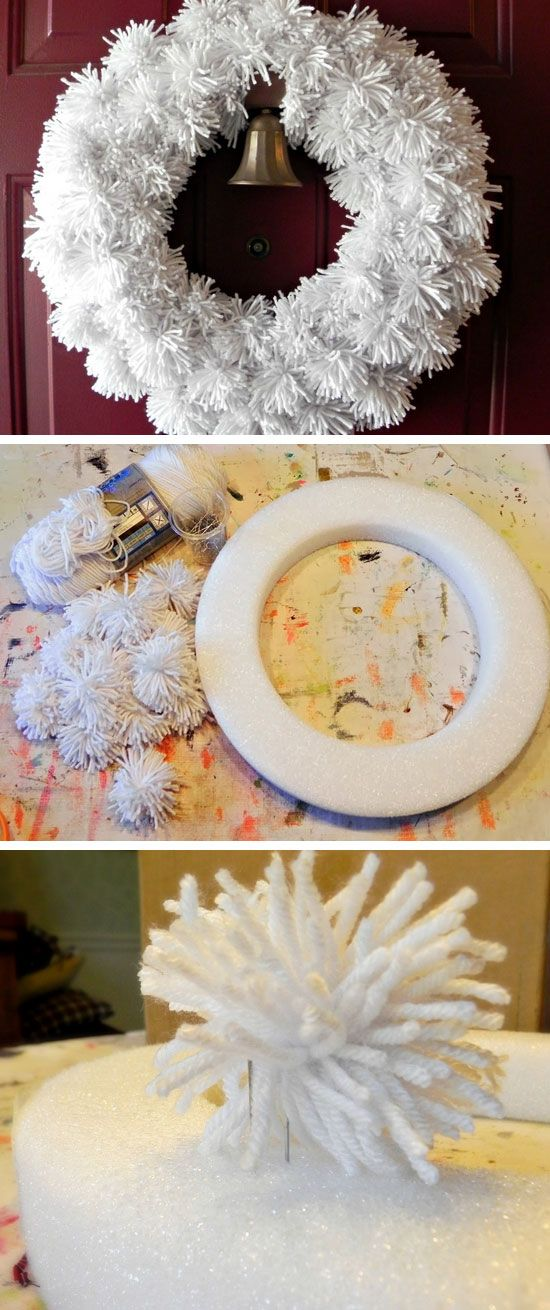 Winter Yarn Pom Wreath   DIY Christmas Wreaths for Front Door   Easy Christmas Decorating Ideas 2014
