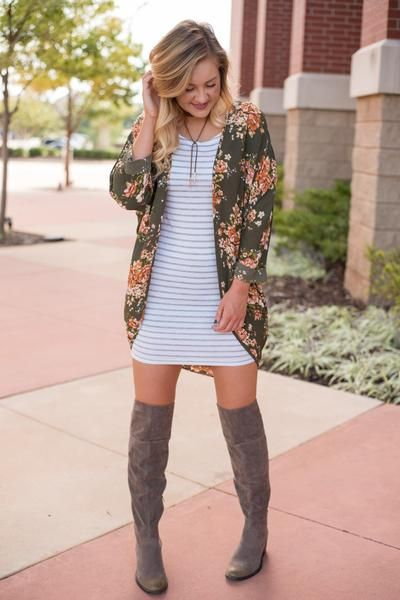 Floral light olive printed cuffed cardigan 90061