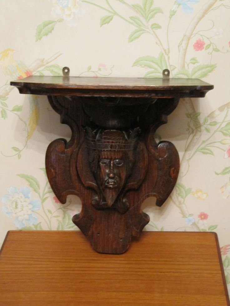 Antique Victorian Carved Oak Medieval King Fiqural Bracket Clock/Wall Shelf
