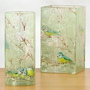 Make this with tissue on glass vases.