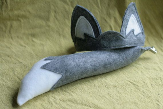 Kids Wolf Tail & Ears Gray Wolf Animal costume by Whimsywerks