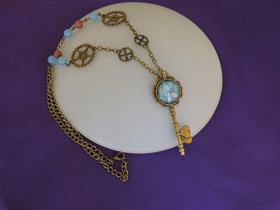 Collar Steampunk, Collar Victoriano,Collar llave Bronce,Joyeria Steampunk, Cadena bronce,Collar engranajes,Collar largo,LLave boda Steampunk