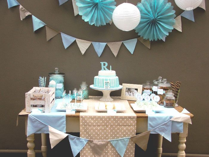 great blue/white/brown party for a little boy - cookies and candy dessert bar - from Amy Atlas!