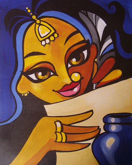 LETTER WRITER - acrylics on canvas, contemporary indian art, niloufer.com