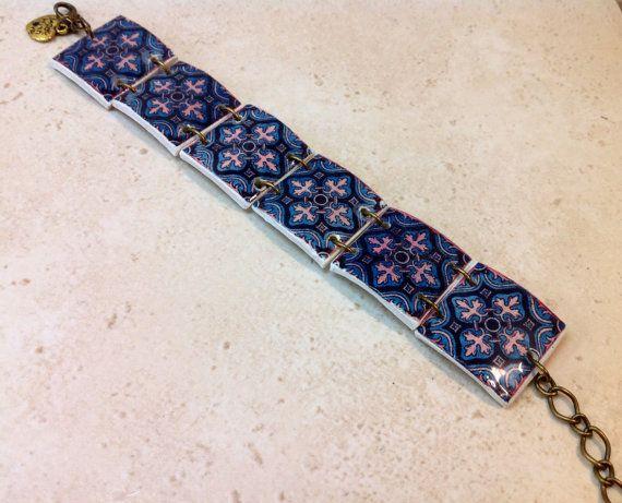 Pulsera de réplicas de azulejo portugués en por LasJoyitasDeMarie, $13.70