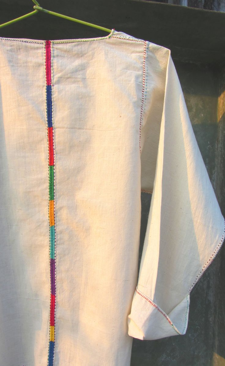 Hand-stitched and Hand-embroidered cotton khadi shirt