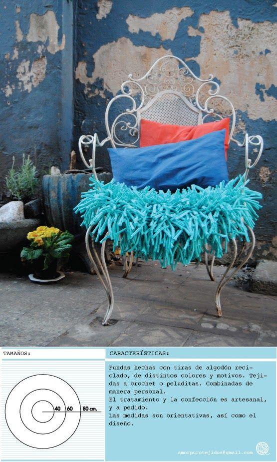 ALMOHADON TIPO FUNDA PARA SILLA, SILLON, O BANCO. hecho con material reciclado