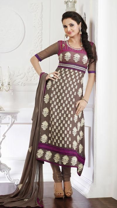 Brown Embroidery Faux Georgette Churidar Salwar Kameez 25642