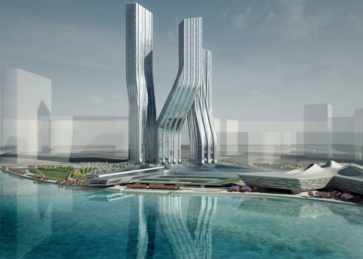 Spectacular Zaha Hadid Futuristic Architecture Inspiration Great Signature Towers In Unique Folded Design With Full Of Glass W