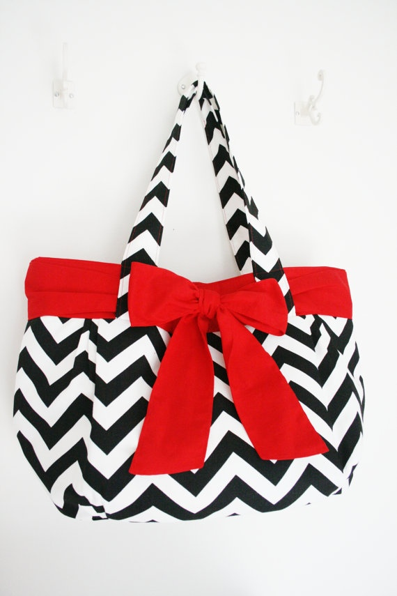 Black and White Chevron Purse with Red Bow by allisonblaylock, $70.00