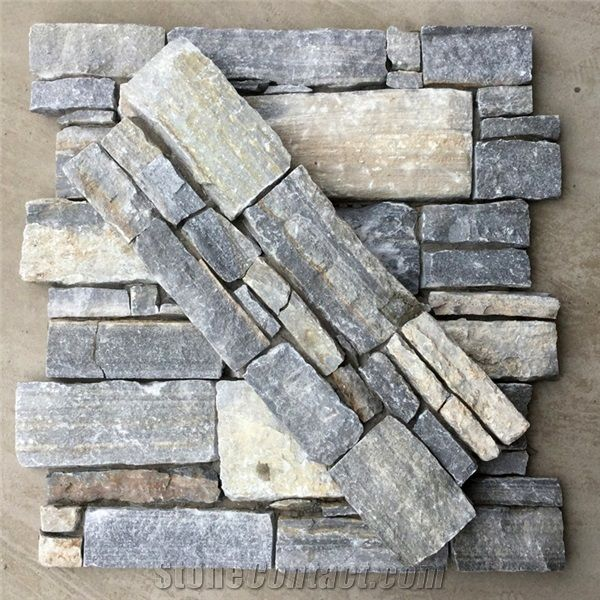 Smc-Cc178 Rectangle Nature Cultured Stone Panel,Wall Stone Veneer,Ledge Stone Veneer,Stacked Stone Wall Cladding, Ledge Stone Corner,Cement Cultured Stone Wall Panel