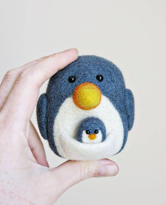 Felted penguin  Felted kangaroo  Felted animals  Funny toy
