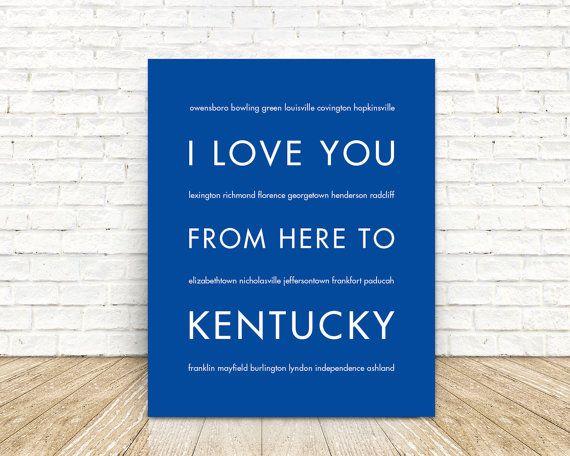 Kentucky State Art Print Kentucky Wildcats by HopSkipJumpPaper
