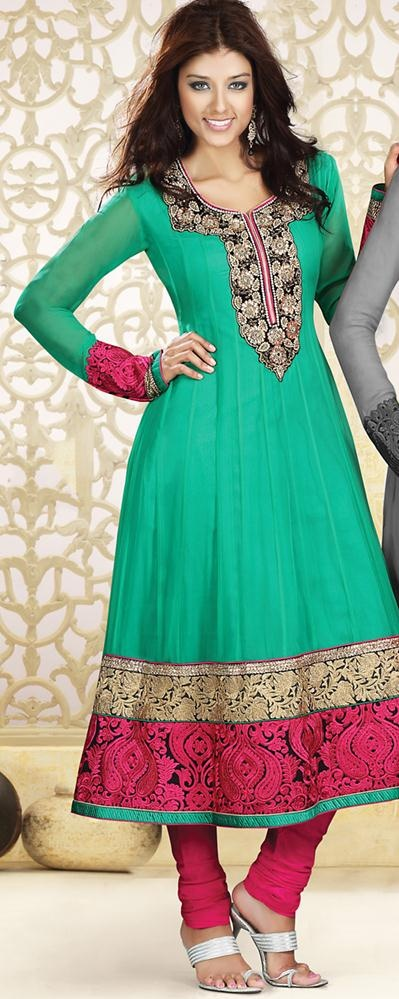 $192.37 Green Embroidery Anarkali Salwar Kameez 23514