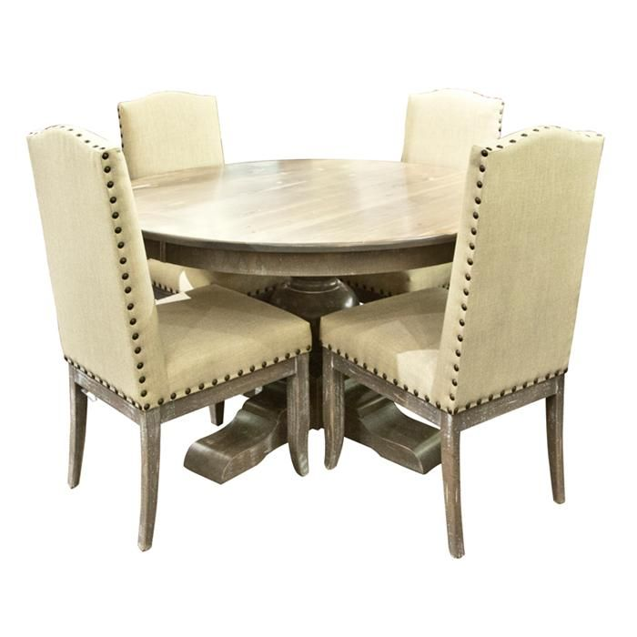 I Love These Off White Leather Chairs With The Nail Heads Are Would Pair Distressed Canadel Farmhouse Dining Table