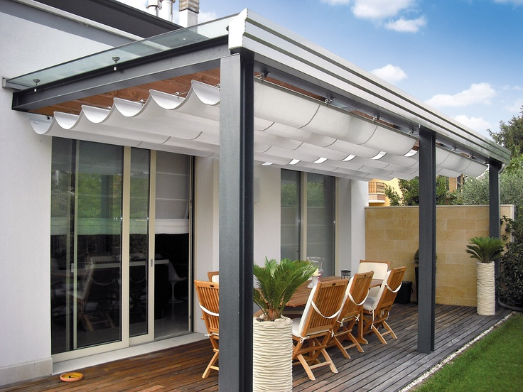 Pergole tip pavilion cu falduri Med GC Gibus pentru umbra si rafinament pe terase si in gradina. Pergole cu un design spectaculos, calitate Gibus, preturi excelente. Foto pavilion Med GC pe terasa locuinta.