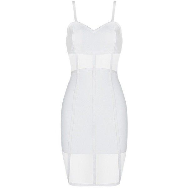 Honey couture rosy white sheer mesh insert bandage dress ($179) ❤ liked on Polyvore featuring dresses, couture cocktail dresses, white bandage dress, white bodycon dresses, sexy bodycon dresses and white evening dresses