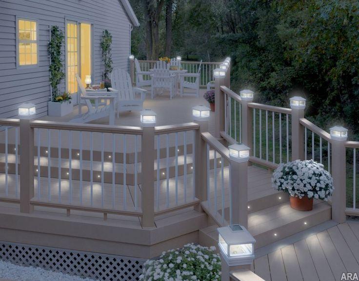 Lighting, Solar Post Cap Lights With Deck Post Lighting Fixtures And Deck  Solar Powered Deck