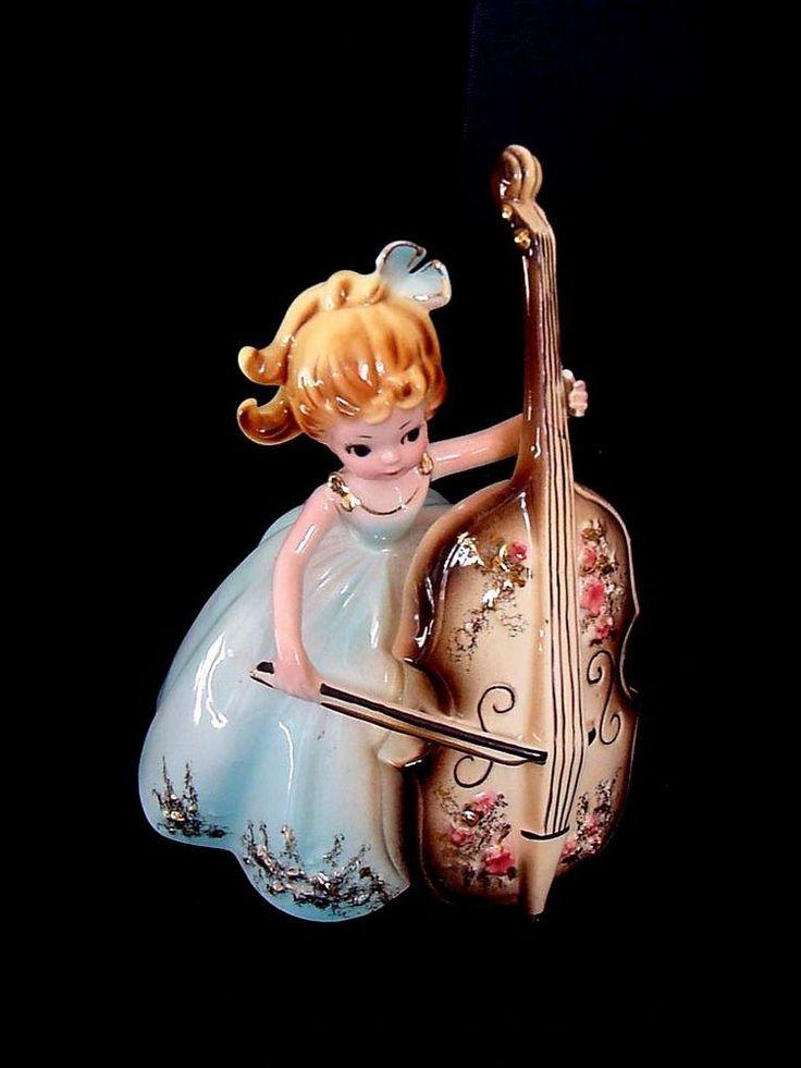 "Vintage Josef Originals PENNY Girl Blue Dress Bass/Cello Musicale Series 6"""