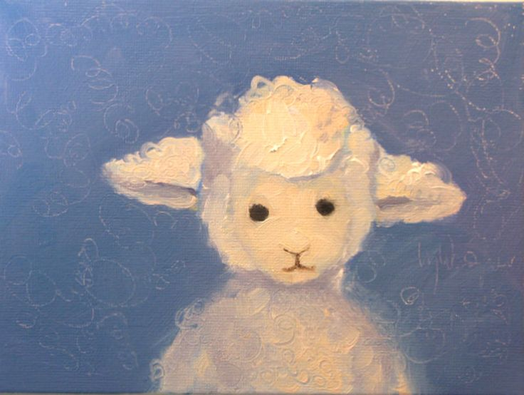 Little Lost Lamb An 6 X 8 Original Oil Painting On Canvas