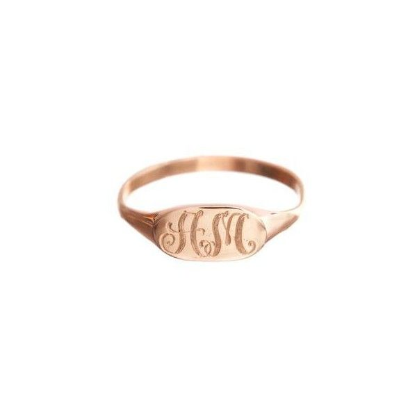 Slim Signet Ring ($165) ❤ liked on Polyvore featuring jewelry, rings, 14k ring, letter rings, diamond accent rings, letter jewelry and 14k signet ring