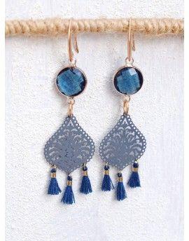 Σκουλαρίκια Blue Crystals & Tassels