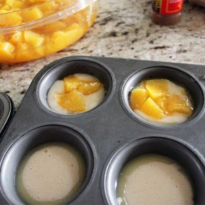 Mini Peach Cobbler cook for 12 min at 350F  1 	cup sugar 1 	cup flour 2 	teaspoons baking powder 	Dash of salt ¾ 	cup milk ½ 	cup (1 stick) butter, melted 	Brown sugar 	Cinnamon 1 	can peaches, diced