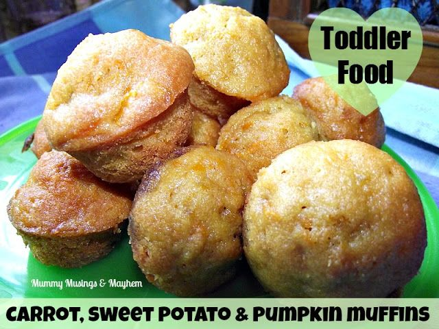 Carront, Sweet Potato, and Pumpkin Muffins - A yummy way to get those fruit and vegies into fussy toddlers! Via Mummy Musings and Mayhem