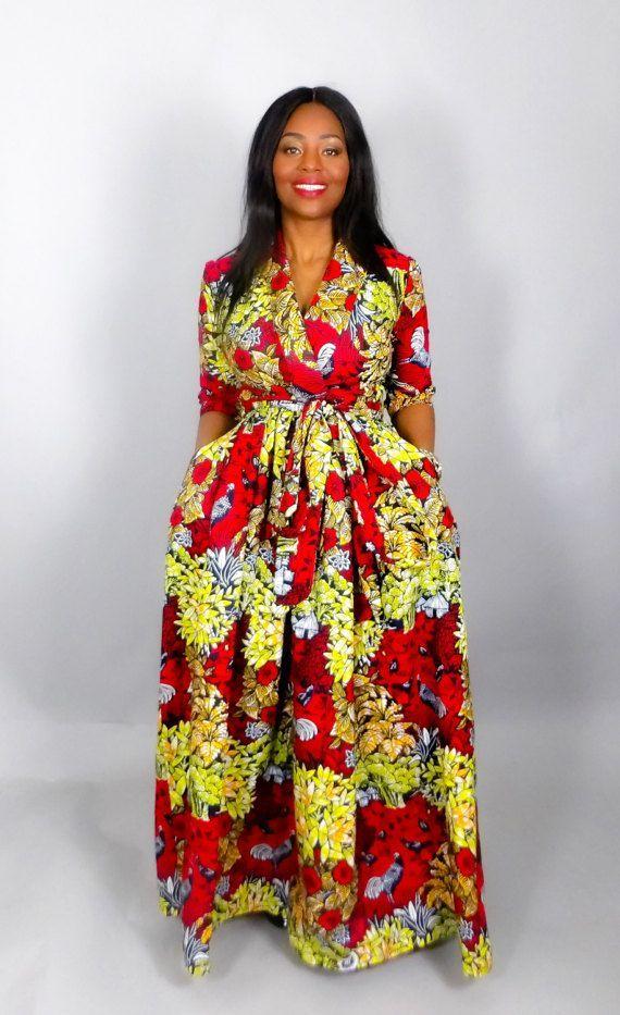 Tendance robes de soirée : Africain rouge imprimé Robe maxi à la main depuis