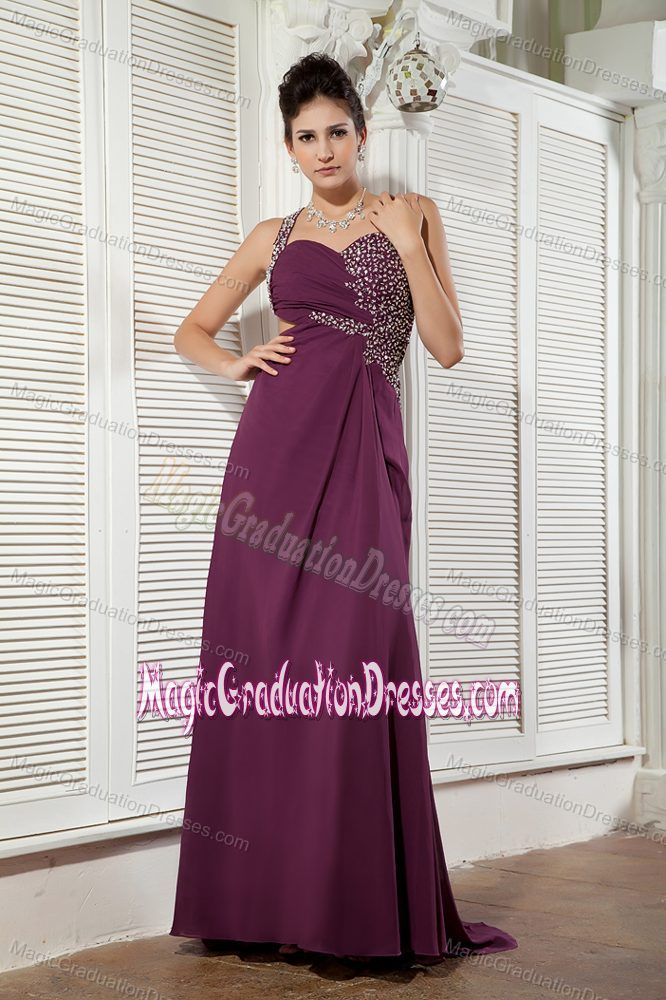 Dark Purple One Shoulder Beaded College Graduation Dress with Brush